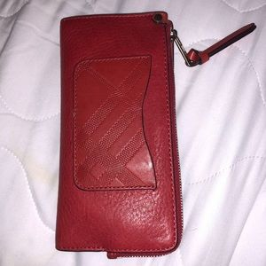 red burberry wallet